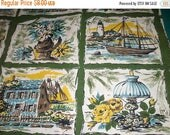 Spring Sale Nautical Fabric Squares - Tall Ships, Flowers, and Farm Fabric Squares - Vintage Fabric Squares - Cotton Fabric - Pot Holder Fab