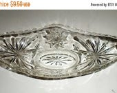 Blow Out Sale Vintage Cut Glass Banana Split Boat - Star Of David Pattern - Dessert Dish - Cut Glass Ice Cream Dish - Heavy Glass Dish - Ban