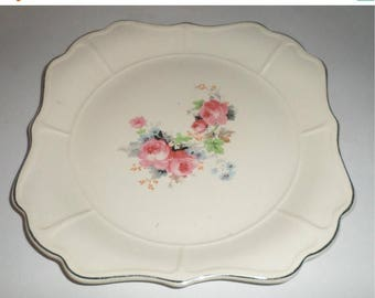 Blow Out Sale Vintage Rose Bouquet Serving Plate - Mount Vernon - Decorative Serving Platter - Gold Trim - Universal Cambridge - Oven Proof