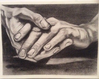 Original Artwork, Charcoal Drawing of Hands