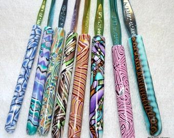 Polymer clay covered crochet hook set of 8, New Boye hook set, Sizes D/3 through K/10.5, handmade designs, ready to ship
