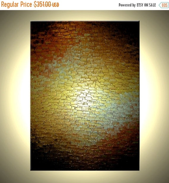 HUGE Thick Textured Original Knife PAINTING By Lafferty - Gold Metallic Abstract Bronze Modern Impasto Art, 48x36, 22% Off