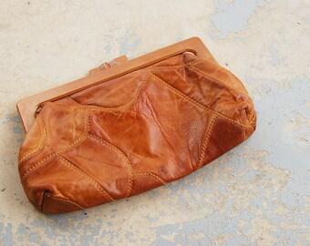 Clearance SALE vintage 70s Clutch - 1970s Caramel Patchwork Leather Purse Handbag