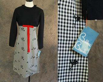 vintage 60s Party Dress - 1960s Deadstock Black Gingham Shift Dress Bobbie Brooks Mod Dress Sz M