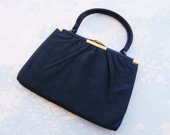 vintage 50s Purse - 1950s Ingber Black Wool Handbag 1950s