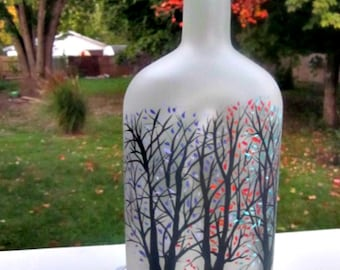 Glass Bottle Light, Night Light, Hand Painted Recycled  Bottle, Trees with Colorful Leaves