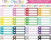 70% OFF SALE Small Heart Checklists Clipart Commercial Use Planner Graphics