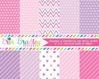 50% OFF SALE Digital Paper Set Personal and Commercial Use Pink and Purple Polka Dots and Stripes