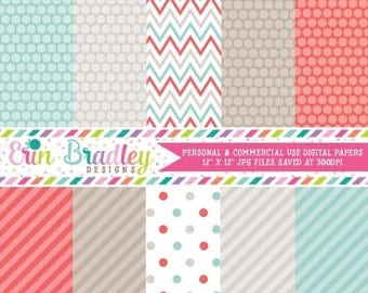 50% OFF SALE Digital Paper Set Personal and Commercial Use Red and Blue Polka Dots and Stripes