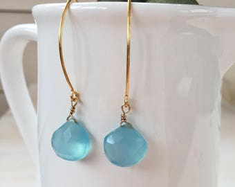 Aqua Blue Chalcedony Teardrop Earrings in Gold