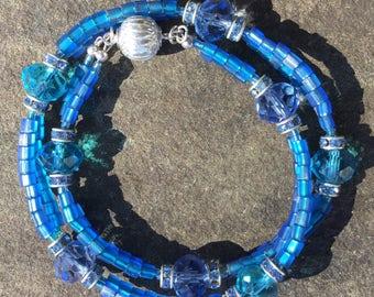 """Necklace OR Bracelet Blues & Greens Crystal 15 1/4"""""""