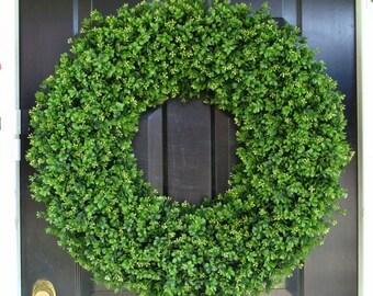 CHRISTMAS WREATH SALE 30 Inch Boxwood Wedding Wreath, Living Room Decor, Wall Decor, Artificial Boxwood Wreath, Year Round Wreath, Wedding D