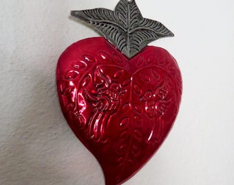 """LG Colorful Sacred Heart Doves Mexican Tin Ornament- Perfect for the one you love- 7.5"""""""