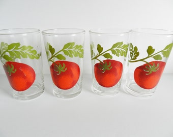Tomato Juice Glass, Red Tomato Juice Glasses, Federal Juice Glasses, 1950s Juice Glasses, Beverage Glasses