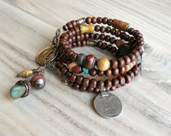 Wood and Vintage Gypsy Metalwork Wrap Bracelet - Memory Wire Coil Bracelet, Wood Bracelet Stack, Rust, Mustard and Turquoise