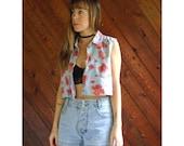 extra 30% off sale . . . Floral Poppy Print Denim Crop Top - Vintage 90s - M/L