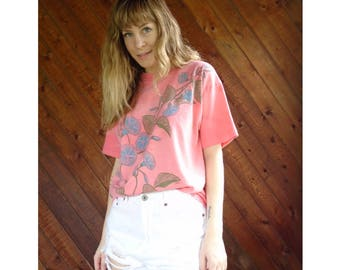 Morning Glory Coral Pink s/s Tee - Vintage 80s - S/M