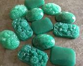 Vintage Jade Glass Cabochons Large Lot Art Deco In Triplicate Assortment