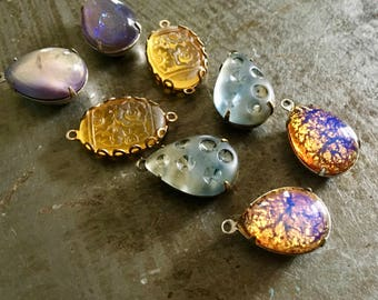 Vintage Glass Cabs and Jewels in Settings Four Pairs 18x13mm Golden Sunrise Assortment