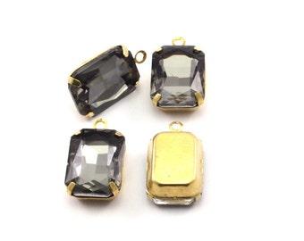 Black Diamond Setting, 4 Octagon Black Diamond Glass Stones With 1 Loop Brass Prong Setting, Claw Settings (18x13mm) S600