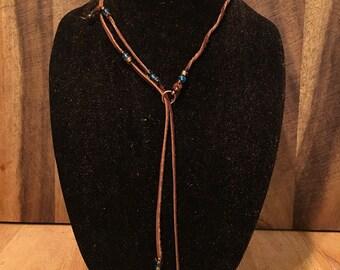 mini leather lariat necklace