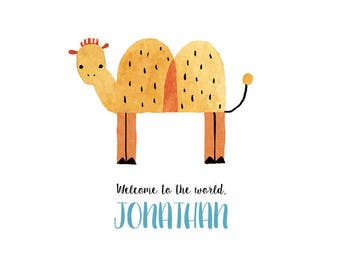 Cute camel, printable custom baby announcement