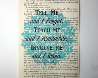 Teacher mentor quote print on a book page, teacher gift, Tell me and I forget, teach me and I remember, involve me and I learn