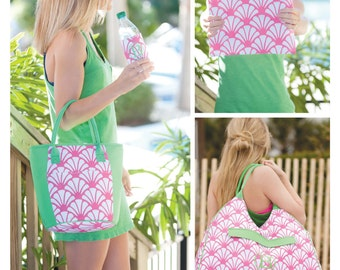 NEW 2017 pink greenery cooler bag beach lunch tote Mothers day gift preppy mom monogram personalized BeachHouseDreamsHome Outer Banks OBX