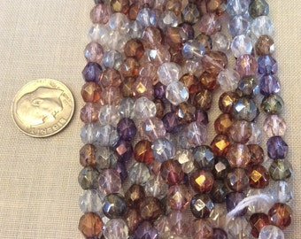 Czech Glass 6mm Round Fire Polished Beads 25 pieces, Luster Mix of Colors, Jewelry Supplies