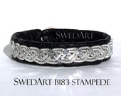 SPECIAL SwedArt B183 Stampede Lapland Sami Reindeer Leather Bracelet with Flat Shiny Pewter/Silver Wires, Antler Button, Black X-SMALL