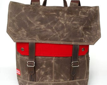 Waxed Canvas Backpack / Cardinal Red Recycled Wool & Oiled Leather / Minimalist Closure
