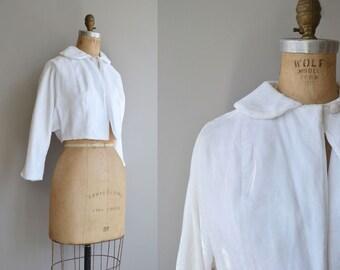 Snowball cropped jacket | vintage 1950s white velvet jacket | 50s cropped jacket