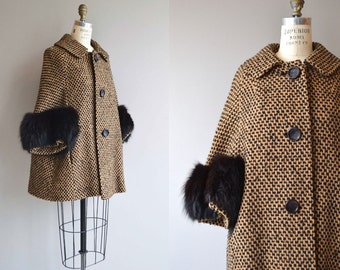 Foxton Court coat | vintage 1960s coat | wool fox fur 60s coat