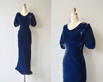 Choir of Theories dress | vintage 1930s silk velvet dress | long 30s dress