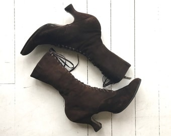 Victorian ankle boots | antique 1900s boots | brushed leather Victorian boots 7