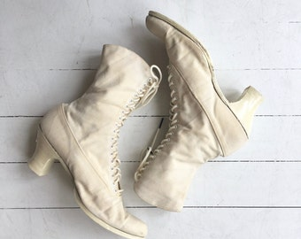 Edwardian wedding boots | 1910s white lace up boots | Victorian ankle boots 7