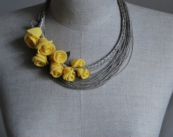 SALE>SALE> Linen Necklace SOPHIE .Handmade pure natural linen and organza necklace.