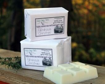 FARMHOUSE CHRISTMAS Wax Melt   2 pack   Huge 5.5 oz. break apart cubes   Holiday Scent   Wax Tarts   Scented Wax Melt   GMO Free Soy
