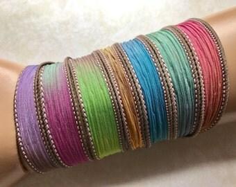 Rainbow - Blue Purple Brown Green Pink Yellow Silk Ribbon Wrap - 1.5x42 inches