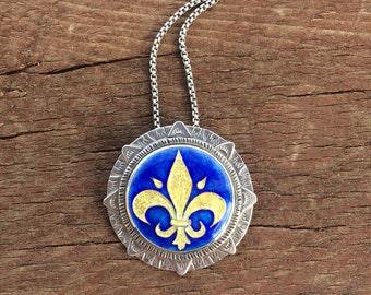 Cloisonne enamel Fleur de lis necklace-Fleur de lis necklace