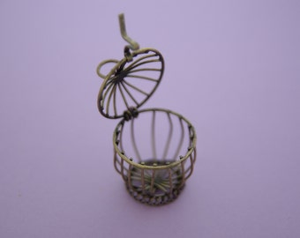 Large Brass BIRD CAGE Pendant Charm