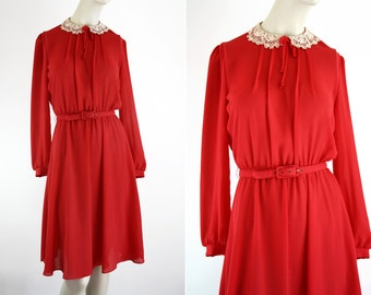 Jonathan Martin Red Sheer Belted Long Sleeve Midi Skirt Day Woman's Vintage Day Dress