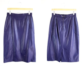 Private Collection Vintage Purple Leather High Waist Tailored Knee Length Woman's Retro Pencil Skirt
