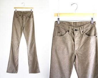 1970's 517 Vintage LEVI Light Tan Thin Corduroy Woman's High Waist Boot Cut Pants