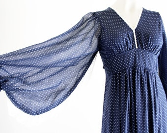 Navy and White Polka Dot and Lace 70's Vintage Woman's Tie Back Oversize Long Sleeve Retro Maxi Dress