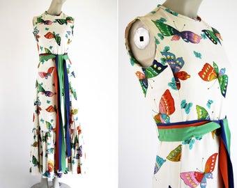 McMullen 100% Cotton Butterfly Print Vintage Multi Color Tie Sash Ruffle Bottom Woman's Retro Sleeveless Maxi Dress