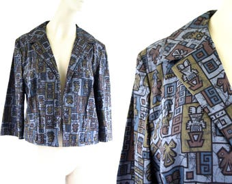 Vintage Glenhaven Ltd. Aztec Inspired Blue Tone Print Long Sleeve Open Front Cotton Woman's Retro Lightweight Jacket