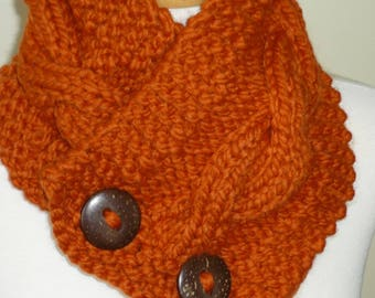 "Knit Neck Warmer, Cable Knit Scarf,  Chunky Warm Winter Scarf in Pumpkin 6"" x 25"" - Coconut Shell Buttons Ready to Ship - Direct Checkout"