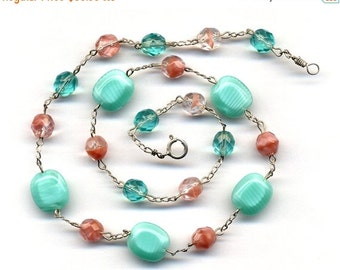 SALE Sterling Silver Pink and Turquoise Necklace, Mint and Pink Sterling silver Necklace, Sterling silver Jewelry by AnnaArt72