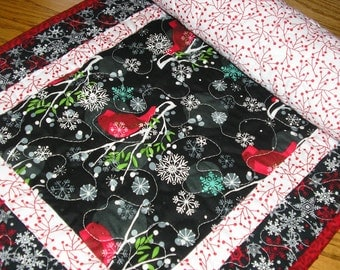 Quilted Christmas Table Runner, Modern Cardinals Runner, Red and Black Runner,   16  x 37 inches
